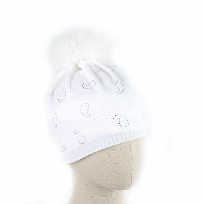 Bonnet BATURA laine blanche pompon fourrure naturelle renard white fox shadow tricot strass intérieur polaire taille unique tricoter grossiste importateur vente gros dt collection direct tannerie