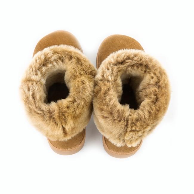 Bottes cox beige marron femme en peau agneau double face peau lainée intérieur fourrure naturelle de mouton dessus cuir agneau fournisseur grossiste dt collection