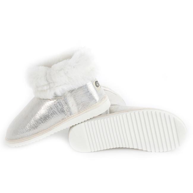 bottes chaussures montantes en peau de mouton double face intérieur fourré laine de mouton dessus cuir souple argenté mordoré silver fourrure blanche DT COLLECTION antidérapante