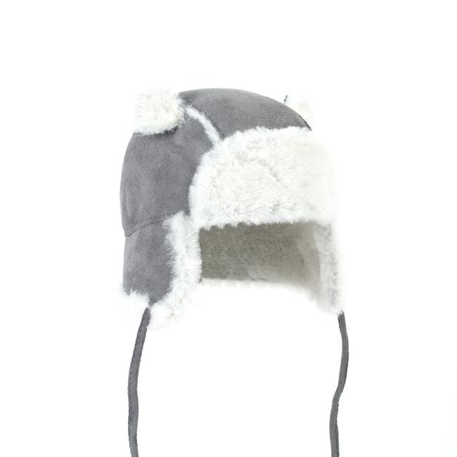 Chapeau chapka bébé cagoule enfant 1 an 6 mois 18 mois peau et fourrure naturelle de mouton laine naturelle agneau mérinos poils ras cuir gris laine blanche bonnet direct tannerie grossiste