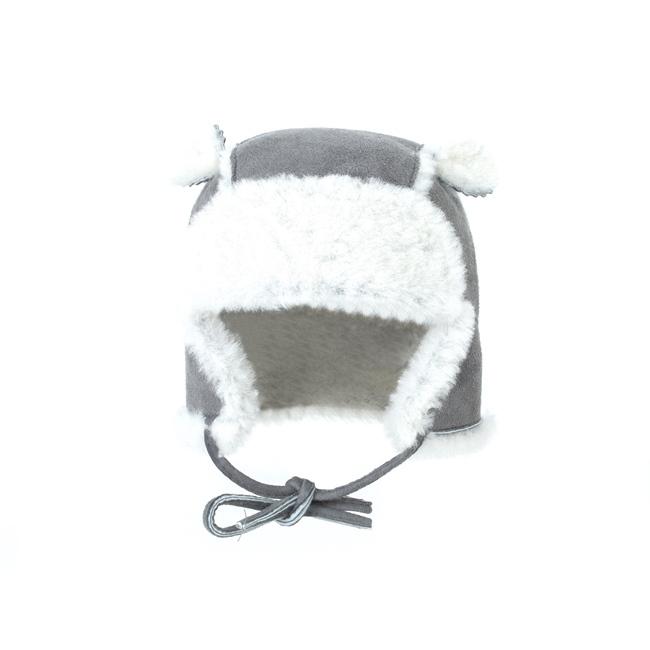 Chapeau chapka bébé cagoule enfant 1 an 6 mois 18 mois peau et fourrure naturelle de mouton laine naturelle agneau mérinos poils ras cuir gris laine blanche bonnet direct tannerie négociant 1