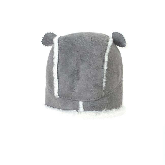 Chapeau chapka bébé cagoule enfant 1 an 6 mois 18 mois peau et fourrure naturelle de mouton laine naturelle agneau mérinos poils ras cuir gris laine blanche bonnet dt collection importateur