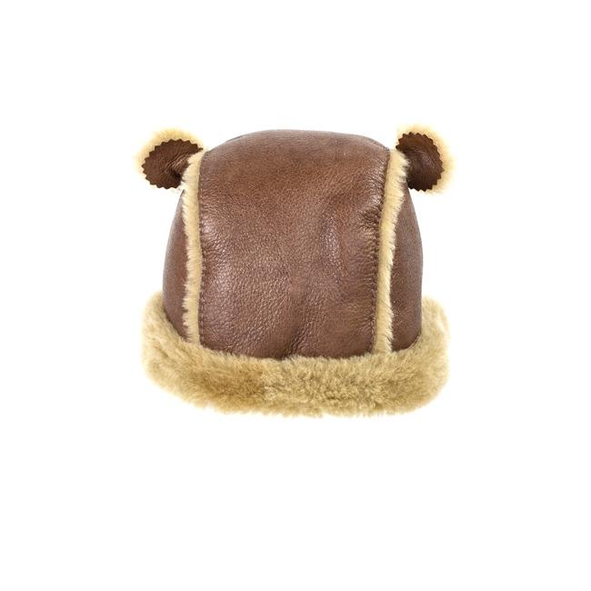 Chapeau chapka bébé cagoule enfant 1 an 6 mois 18 mois peau et fourrure naturelle de mouton laine naturelle agneau mérinos poils ras cuir marron laine caramel brun bonnet direct tannerie