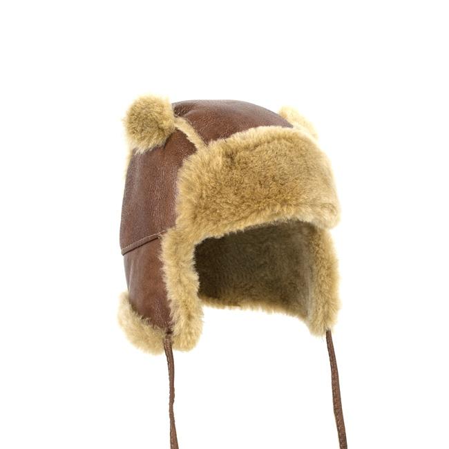 Chapeau chapka bébé cagoule enfant 1 an 6 mois 18 mois peau et fourrure naturelle de mouton laine naturelle agneau mérinos poils ras cuir marron laine caramel brun direct tannerie fournisseur
