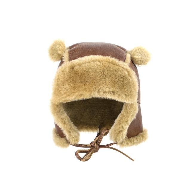 Chapeau chapka bébé cagoule enfant 1 an 6 mois 18 mois peau et fourrure naturelle de mouton laine naturelle agneau mérinos poils ras cuir marron laine caramel direct tannerie importateur