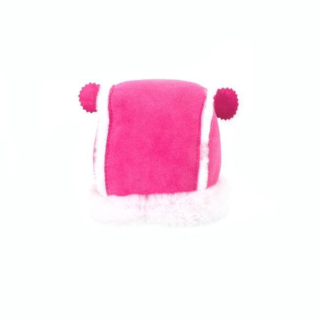 Chapeau chapka bébé cagoule enfant 1 an 6 mois 18 mois peau fourrure naturelle de mouton laine naturelle agneau mérinos poils ras cuir rose fushia velour laine rose destockage grossiste
