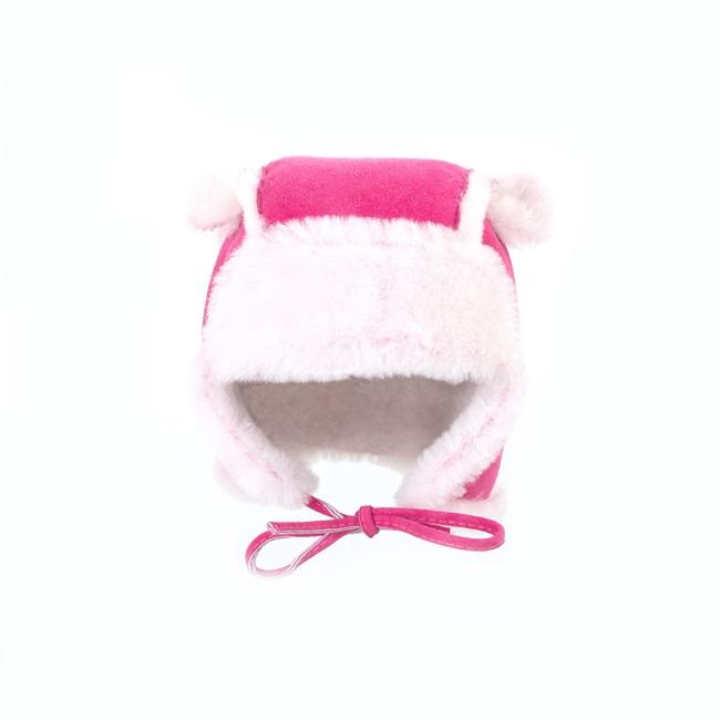 Chapeau chapka bébé cagoule enfant 1 an 6 mois 18 mois peau fourrure naturelle de mouton laine naturelle agneau mérinos poils ras cuir rose fushia velour laine rose grossiste fournisseur