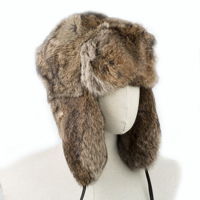 Chapka cagoule bonnet chapeau PAPACHA marron tout en peau de lapin et fourrure naturelle de lapin de garenne marron grossiste importateur direct tannerie homme chapka russe URSS liner intérieur vente