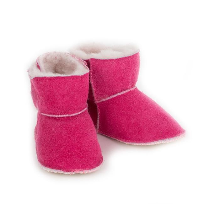Chaussons bébé en peau agneau double face intérieur fourré laine mouton dessus cuir rose fushia framboise fille direct tannerie grossiste vente en gros lot