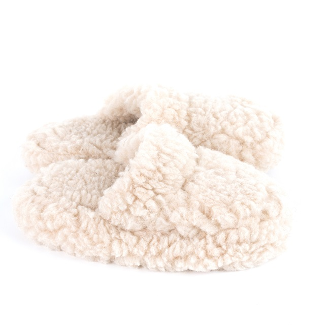 Chaussons beige marron mules savate pantoufles laine naturelle mouton chaude fourré laine lainage pas cher lavable adulte chaud léger dt collection grossiste importateur direct tannerie