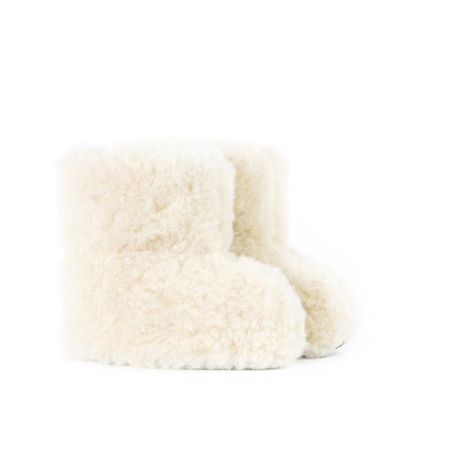 Chaussons blanc écru en laine naturelle de mouton bottine chaude fourré en laine lainage peaux fourrures pas cher lavable enfant souple chaud léger direct tannerie vente en gros fournisseur