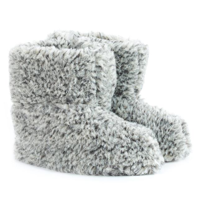 Chaussons chiné gris laine naturelle mouton bottine chaude fourré lainage pas cher lavable adulte chaud léger sans semelle douce ne gratte pas pantoufles grossiste vente en gros dt collection