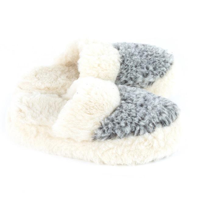 Chaussons gris chiné blanc mules savate pantoufles laine naturelle de mouton chaude fourré lainage pas cher lavable adulte chaud léger sans semelle douce intérieur lainegrossiste importateur gros