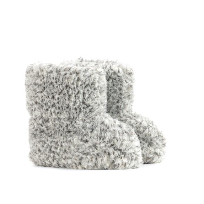 Chaussons gris chiné moucheté en laine naturelle de mouton bottine chaude fourré lainage pas cher lavable enfant chaud léger sans semelle douce intérieur laine grossiste importateur