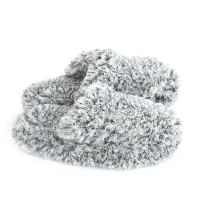 Chaussons gris chiné mules savate pantoufles laine naturelle mouton chaude fourré lainage pas cher lavable adulte chaud léger sans semelle douce intérieur grossiste importateur vente en gros