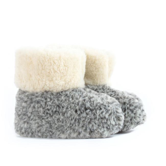 Chaussons gris chiné pantoufles en laine naturelle de mouton bottine chaude fourré laine lainage peaux fourrures pas cher lavable enfant chaud direct tannerie importateur grossiste