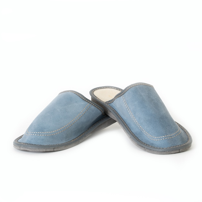 Chaussons pantoufles peau cuir vachette bleu intérieur cuir croute voute plantaire semelle orthopédique souple léger savate mules grossiste vente gros destockage direct tannerie