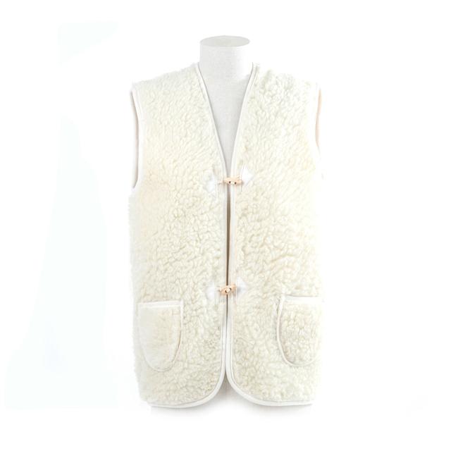 gilet de travail mixte homme femme intérieur laine naturelle de mouton blanche fourré fourrure lainage veste sans manches doublure manteau gilet de berger dt collection grossiste