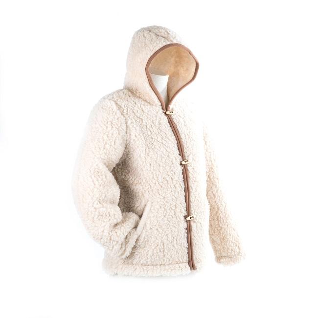 gilet en laine de mouton à capuche lavable machine homme femme intérieur laine naturelle de mouton marron lainage veste cardigan doublure manteau pull dt collection fournisseur gros