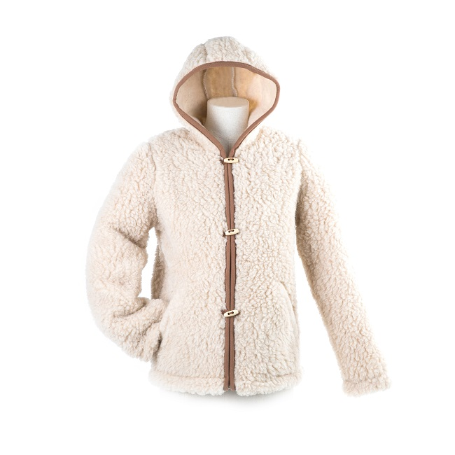 gilet en laine de mouton à capuche lavable machine homme femme intérieur naturelle beige lainage veste cardigan doublure manteau pull berger direct tannerie dt collection grossiste importateur