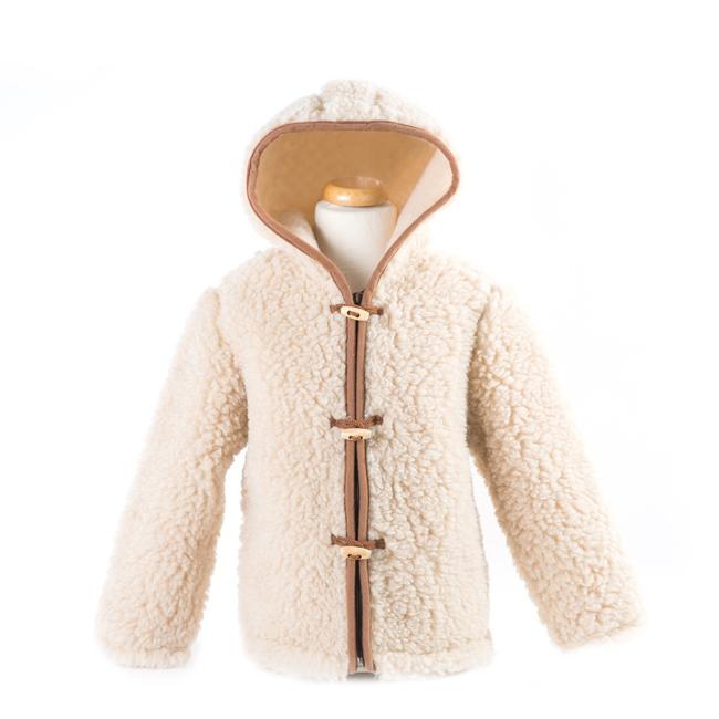 gilet en laine de mouton avec capuche mixte enfant intérieur laine naturelle de mouton beige fourré marron écru lainage veste cardigan manteau pull en laine de mouton berger grossiste importateur