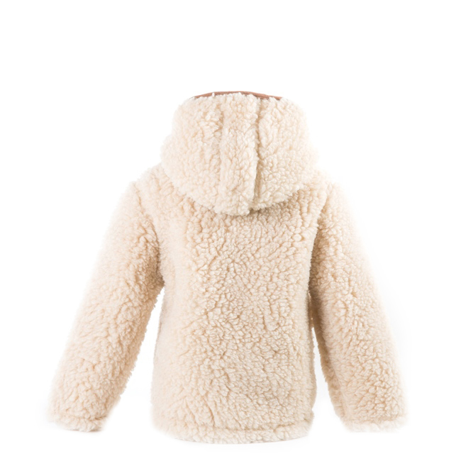 gilet en laine de mouton avec capuche mixte enfant intérieur laine naturelle de mouton beige fourré marron écru lainage veste cardigan manteau pull en laine de mouton fille garçon dt collection