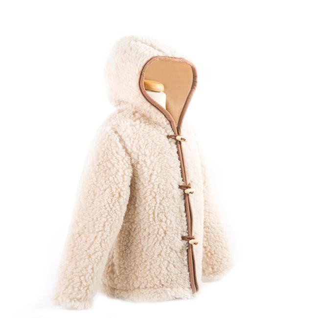 gilet en laine de mouton avec capuche mixte enfant intérieur laine naturelle de mouton beige fourré marron écru lainage veste cardigan manteau pull manches longues mouton berger direct tannerie