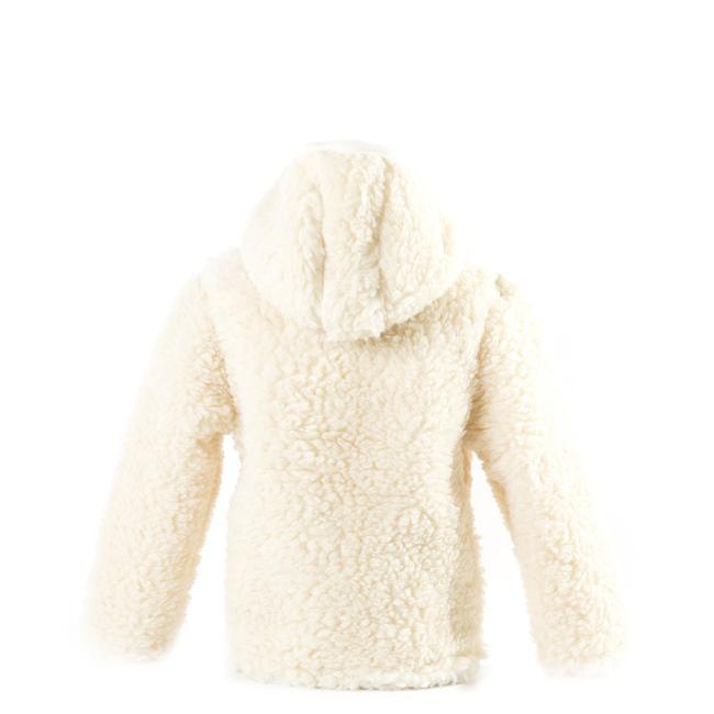 gilet en laine de mouton avec capuche mixte enfant intérieur laine naturelle de mouton blanche fourré fourrure lainage veste cardigan doublure manteau pull berger dt collection fournisseur