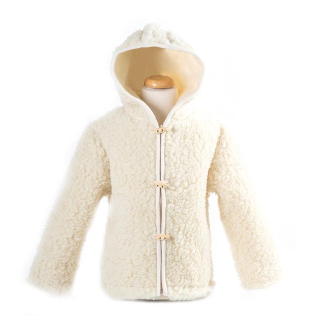 gilet en laine de mouton avec capuche mixte enfant intérieur laine naturelle de mouton blanche fourré fourrure lainage veste cardigan doublure manteau pull dt collection grossite