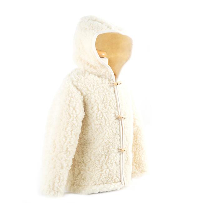 gilet en laine de mouton avec capuche mixte enfant intérieur laine naturelle de mouton blanche fourré fourrure lainage veste cardigan doublure manteau pull importateur grossiste direct tannerie