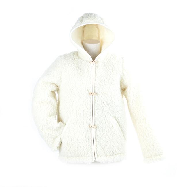 gilet en laine de mouton avec capuche mixte homme femme intérieur laine naturelle de mouton blanche fourrure lainage veste cardigan doublure manteau pull berger direct tannerie grossiste gros