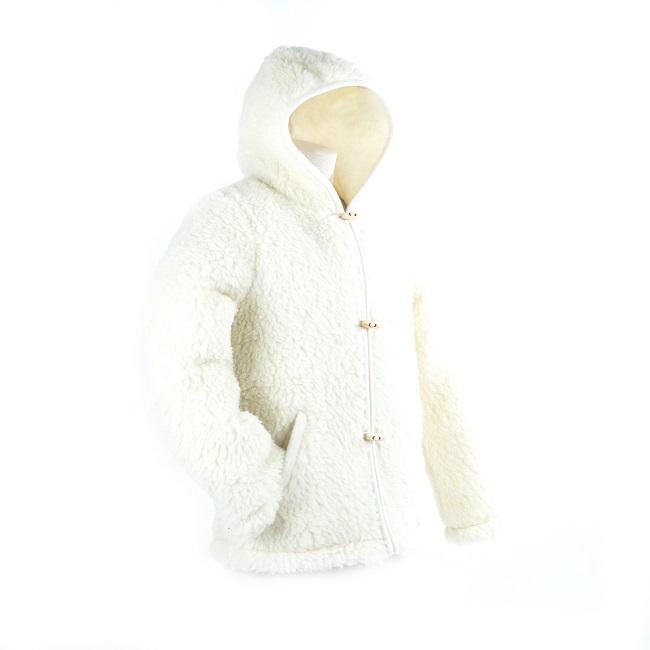 gilet en laine de mouton avec capuche mixte homme femme intérieur laine naturelle de mouton blanche fourrure veste cardigan doublure manteau pull berger grossiste importateur dt collection