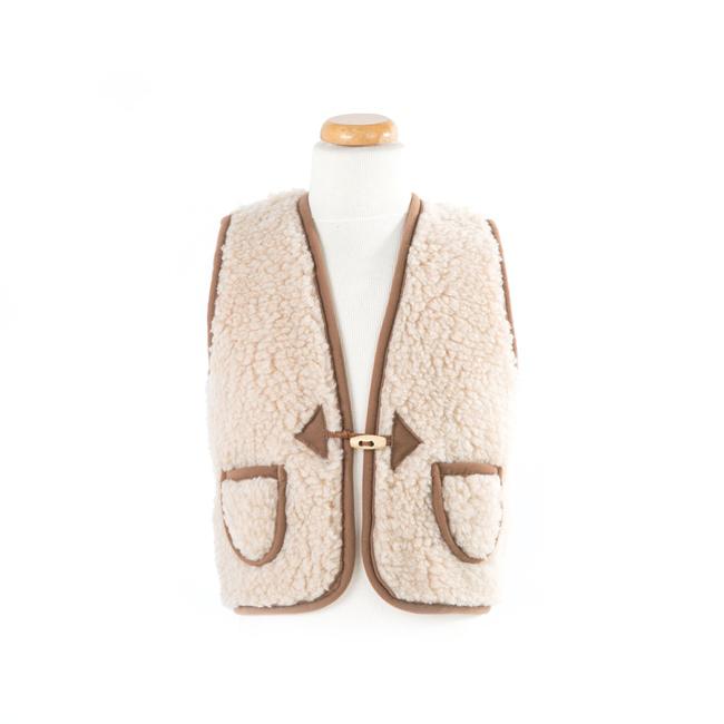 gilet en laine de mouton mixte enfant intérieur laine naturelle de mouton marron beige écru lainage veste sans manche gilet de berger direct tannerie dt collection grossiste
