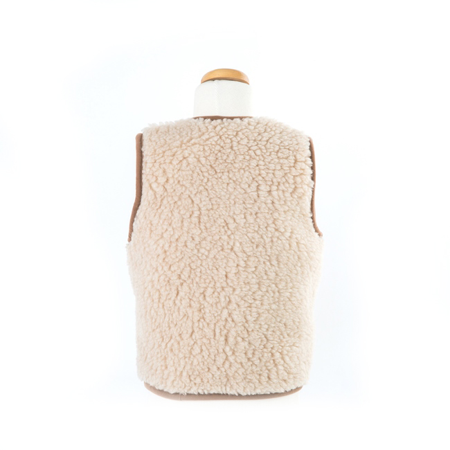 gilet en laine de mouton mixte enfant intérieur laine naturelle de mouton marron beige écru lainage veste sans manche gilet de berger vraie laine direct tannerie dt collection grossiste