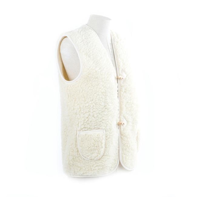 gilet en laine mixte homme femme intérieur laine naturelle de mouton blanche fourré fourrure lainage veste sans manches doublure manteau gilet de berger dt collection fournisseur