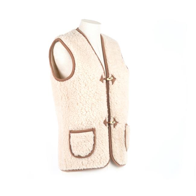 gilet en laine naturelle de mouton gilet de berger homme femme veste sans manche laine vierge agneau lainage tissé peaux fourrures doublure manteau grossiste gros