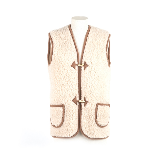gilet en laine naturelle de mouton gilet de berger homme femme veste sans manche laine vierge agneau lainage tissé peaux fourrures marron brun importateur vente en gros