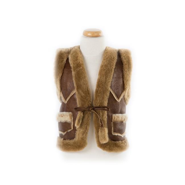 gilet en peau de mouton agneau double face enfant intérieur fourrure laine naturelle de mouton marron brun camel lainage veste sans manche gilet de berger direct tannerie grossiste dt collection