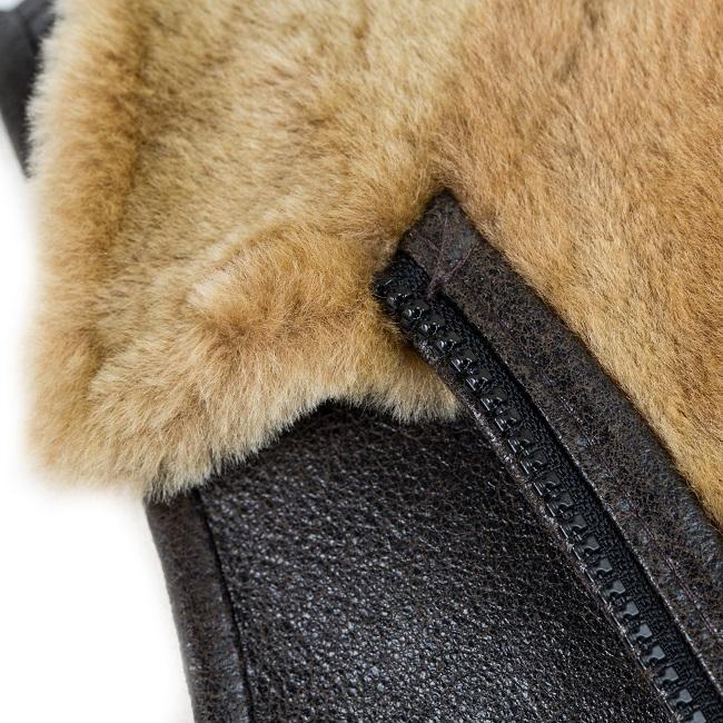 gilet sans manche gilet de berger travail peau lainée veste en peau cuir marron vieilli agneau double face intérieur fourrure naturelle écru blanche mouton homme intérieur laine vente en gros