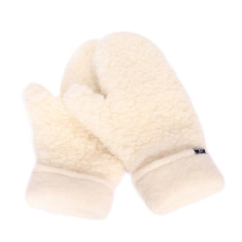 Moufles mixtes en laine de mouton blanche