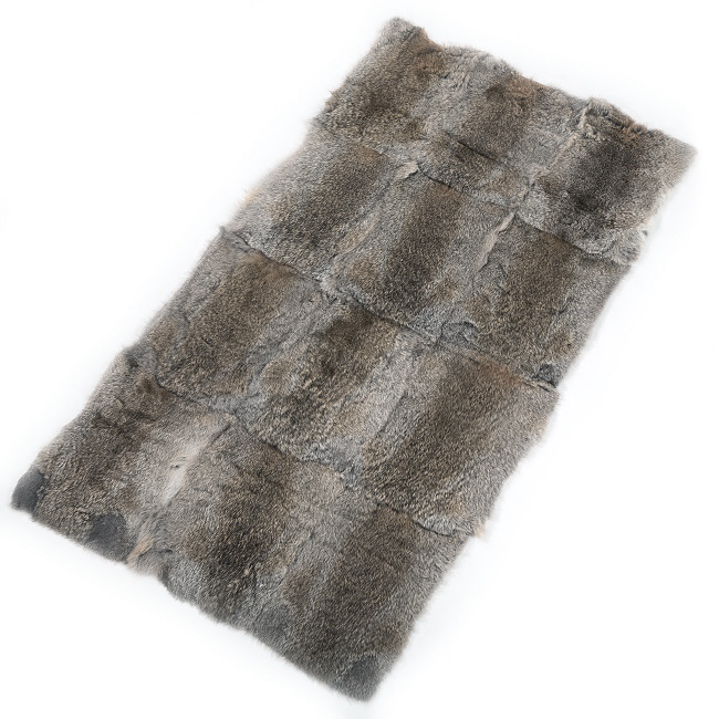 Nappette en pleine peau de lapin naturel garenne gris dos de lapin 60 x 120 couture assemblage confection grossiste importateur DT COLLECTION direct tannerie