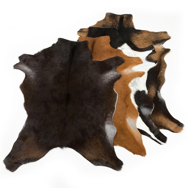 Peau de chèvre exotique amérique latine marron blanc noir décoration descente de lit tapis cuir peaux fourrures assortiment