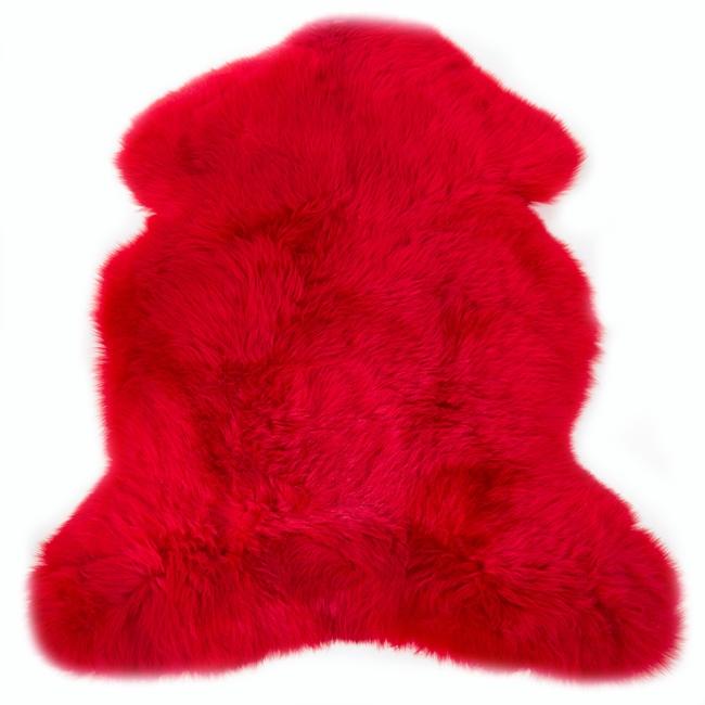 Peau de mouton mérinos teintée rouge tapis descente de lit tapis en laine naturelle grossiste importateur décorateur fournisseur direct tannerie