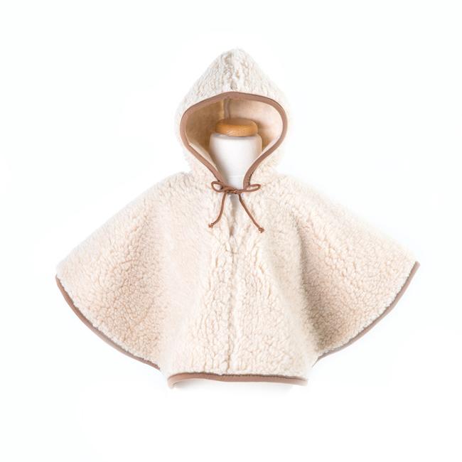 Poncho enfant en laine naturelle de mouton marron beige intérieur doublé laine vierge cape à capuche lavable machine bébé enfant naissance importateur direct tannerie
