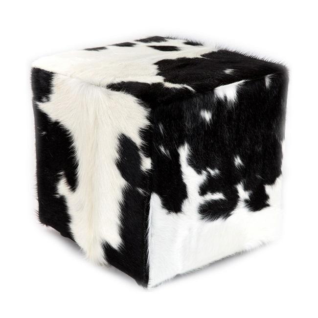 Pouf en peau de vache noir et blanc assise en mousse à mémoire de forme confortable léger vrai peau de bête cuir naturel chaise banc assise direct tannerie négociant vente gros