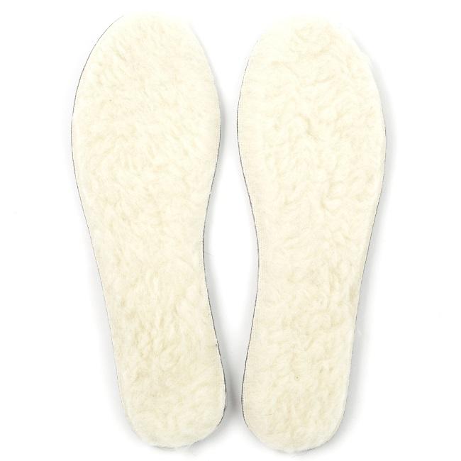 Semelle en laine naturelle de mouton blanc doublé feutrine grise adulte chaude respirante isolante anti transpirant légère fine direct tannerie dt collection grossiste vente gros