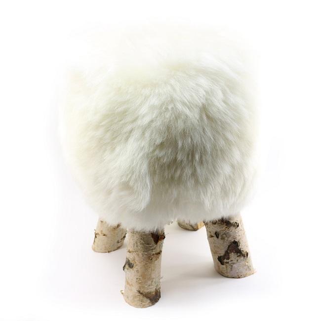 tabouret pouf en peau de mouton blanc grossiste importateur direct tannerie vente en gros blanche poil ras p