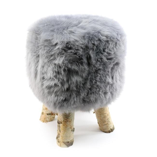 tabouret pouf en peau de mouton gris souris grossiste importateur direct tannerie vente en gros france poil ras p
