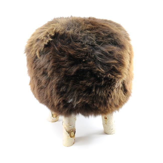 tabouret pouf en peau de mouton grossiste importateur direct tannerie vente en gros marron naturel p