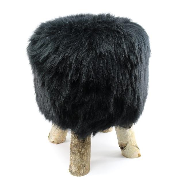 tabouret pouf en peau de mouton noir grossiste importateur direct tannerie vente en gros noire poil ras p